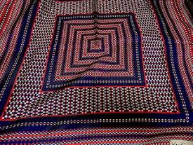 イヴサンローラン Yves Saint Laurent スカーフ シルク100% ysl刺繍 ネイビー レッド scarf 7066【中古】