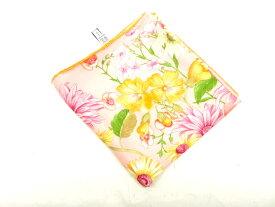 再度入荷 フェラガモ Ferragamo スカーフ シルク絹 プリント ピンク花 ヴィンテージ 小物【中古】