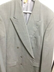 カルバンクライン【CALVIN KLEIN】スーツ ジャケット スラックス ダブル 2ボタン ライン水色 紳士 メンズ Lサイズ【中古】