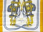 エルメス【HERMES】カレースカーフタッセル柄グレーゴールドマルチカラーシルク100%BridesScarf【中古】