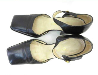 香奈爾CHANEL鞋涼鞋皮革涼鞋35黑色皮革這裏吊帶女士輕鬆