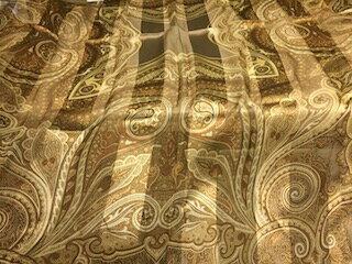 【USED】アン クライン ANNE KLEIN スカーフ シルク100% ヴィンテージ ベージュ scarf 5662【中古】
