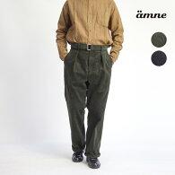 amneアンヌコーデュロイベルト付きタックワイドパンツセットアップ対応日本製メンズ