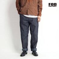 FOBFACTORYFOBファクトリーウォバッシュストライプ11オンスジェルトデニムパンツワイドテーパード日本製メンズ