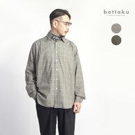 Bettakuベッタクコットンフランネル5タックチェックシャツ日本製メンズ