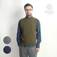 Sogliaソリアランドノアブリティッシュウールクルーネックニットベスト日本製メンズ