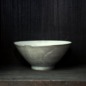 小石原焼 森山實山窯 飛び鉋 ラーメン鉢 どんぶり グレー 陶器 かわいい おしゃれ