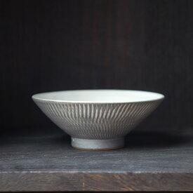 小石原焼 森山實山窯 飛び鉋 茶碗 グレー 陶器 かわいい おしゃれ