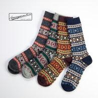 Anonymousismアノニマスイズムノルディックウールジャカードクルーソックス日本製靴下メンズ