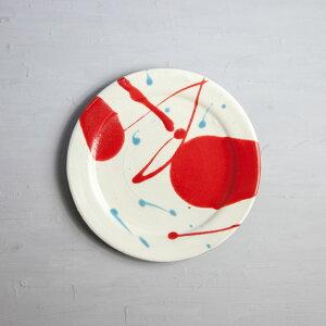 丹波焼 丹波立杭焼 丹文窯 白赤とびちり リム皿S 取り皿 小皿 陶器 かわいい おしゃれ
