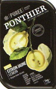 冷凍 フランス産 高級レモン(シトロン) ピューレ 1kg 100% 無糖 ポンティエ社