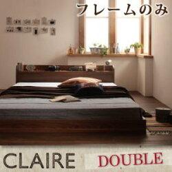 [040102078]棚・コンセント付きフロアベッド【Claire】クレール【フレームのみ】ダブル