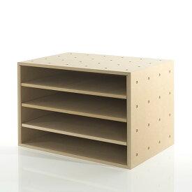 A3書類・ファイル収納ボックス 平置き4段 木製(書類棚 カラーボックス ストレージボックス キューブボックス キューブ ボックス スタッキング ラック 大容量)BLC-12-G /マルゲリータ