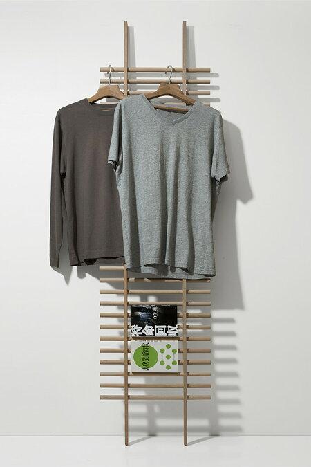 ラダーラック木製BONE(おしゃれラダーシェルフ壁面収納ネクタイハンガーネクタイ掛けハットフック帽子掛け収納ラック壁掛けデザインインテリア送料無料)BONE-02