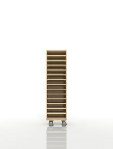 A4書類棚 キャスターベースセット 14段 木製 大容量(PNO-A4-14×1+BLC-08-BX×1) /マルゲリータ