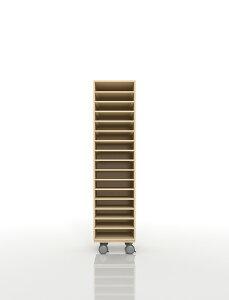 A4書類棚 キャスターベースセット 16段 木製 大容量(PNO-A4-16×1+BLC-08-BX×1) /マルゲリータ
