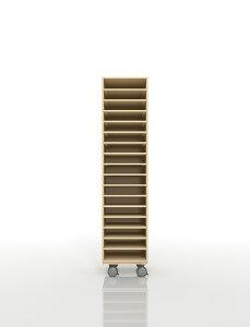 A4書類棚 キャスターベースセット 17段 木製 大容量(PNO-A4-17×1+BLC-08-BX×1) /マルゲリータ