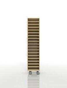 A4書類棚 キャスターベースセット 18段 木製 大容量(PNO-A4-18×1+BLC-08-BX×1) /マルゲリータ