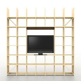 開口部のある本棚 奥行350 縦7コマ×横7コマ-233(送料無料 テレビ台 テレビボード TV台 TVボード リビング収納 リビングボード 壁一面本棚)SLF-AR-2400-2400-ROOM233 壁面収納 収納棚 収納