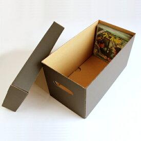EPレコード段ボールボックス 蓋付き 黒 2箱セット(EP用 7インチレコード ダンボールボックス 段ボールBOX ダンボールBOX 段ボール箱 ダンボール箱 段ボール収納 ダンボール収納 収納ボックス 収納BOX フタ付き) /マルゲリータ