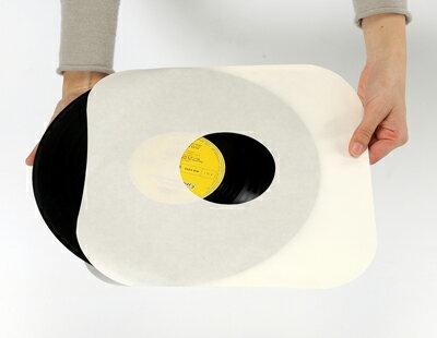 LPレコード用紙製内袋(インナー)両穴角R・100枚セット【P0107】