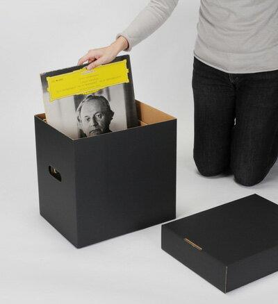 LP用蓋付きBOXセット 黒 5箱セット(LP用 12インチレコード ダンボールボックス 段ボールBOX ダンボールBOX 段ボール箱 ダンボール箱 段ボール収納 ダンボール収納 収納ボックス 収納BOX フタ付き) /マルゲリータ