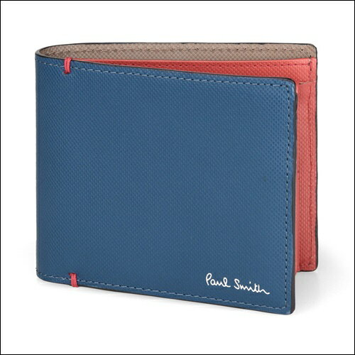 ポールスミス 財布 Paul Smith バッグ ポール・スミス 新品 ポール スミス 正規品 コントラストカラー 2つ折り財布 ブルー