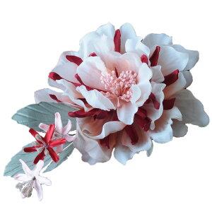 ブライダル ヘッドドレス 花 コサージュ 葉 結婚式 花嫁 髪飾り 二次会 レッド【送料無料】