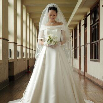 Two colors of wedding veil long 280cm satin ribbon off-white / ivory (wedding Wedding Veil Wedding Veil wedding veil wedding dress) [V02]