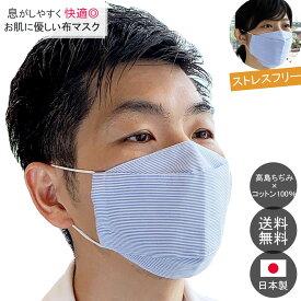 【ポイント2倍】日本製 布マスク 舟形 天然素材布マスク 立体マスク 布 男女兼用★ブルーストライプ 折り返し 【Y291】【送料無料】