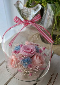 【小鳥のガラスドーム】プリザーブドフラワー 敬老の日 母 出産祝い 結婚祝い 結婚記念日 妻 ウェデング ギフト プリザーブド フラワー ガラスドーム セット お花 可愛い 花 贈り物 誕生日