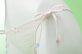日本製Tバック小花サイドリボン天然綿100%ショーツ【Mサイズ】サイドリボン先端のお花がとってもかわいい!大人気国産スタンダードショーツMARIICLUB/マリイクラブ