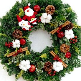 クリスマスリース 玄関 フレッシュ 『メリー クリスマス リース 45cm』 大きい おしゃれ かわいい 生 フレッシュリース ナチュラル 玄関飾り ギフト ナチュラルリース 北欧 サンタ スノーマン オリジナル プレゼント LED オプションあり ドアリース 冬 屋外 りんご 装飾