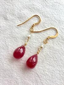 セール限定商品!お買い得!大粒ルビーピアス 7月誕生石 14kgfルビーピアス 京都marimariオリジナル天然石ジュエリー  熟れた果実のような真っ赤な宝石、ジュエリー用の贅沢なルビーです。送料無料!