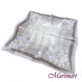 訳あり シルクスカーフ 利休茶色 シックな花束ネッカチーフサイズ約50cm正方形水色