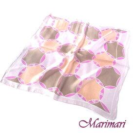 シルク100%スカーフニュアンスのある淡いお色ネッカチーフサイズ約50cm正方形円形の交差したデザインサーモンベージュと淡いピンクのコラボレーションカラー