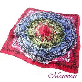 シルクスカーフ アバンギャルドレッドネッカチーフサイズ約50cm正方形未知の世界にトリップしよう2色展開