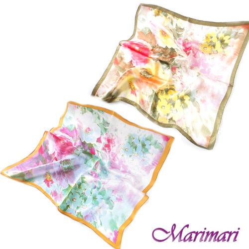 訳あり シルクスカーフ 水彩画風情ネッカチーフサイズ約50cm正方形スペイン・ミハスの花壇