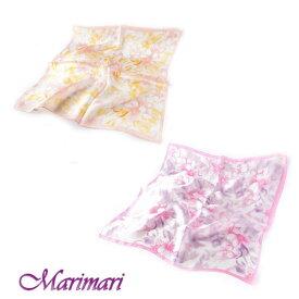 シルクスカーフ 水彩画のようなニュアンスあるデザインネッカチーフサイズ約50cm正方形サーモンピンクとパープル
