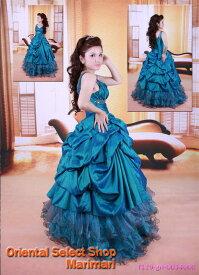 ブルーグリーン シルクタフタ風情Vネックライン披露宴のお色直しカラードレスプリンセスラインパニエ付き