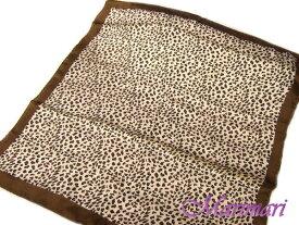シルク100%スカーフ ゼブラ柄ネッカチーフサイズ約50cm正方形人気のアニマル柄ブラウン系◆