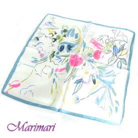 シルク100%スカーフグリーントリミングお花畑デフォルメネッカチーフサイズ約50cm正方形水彩画風お花模様