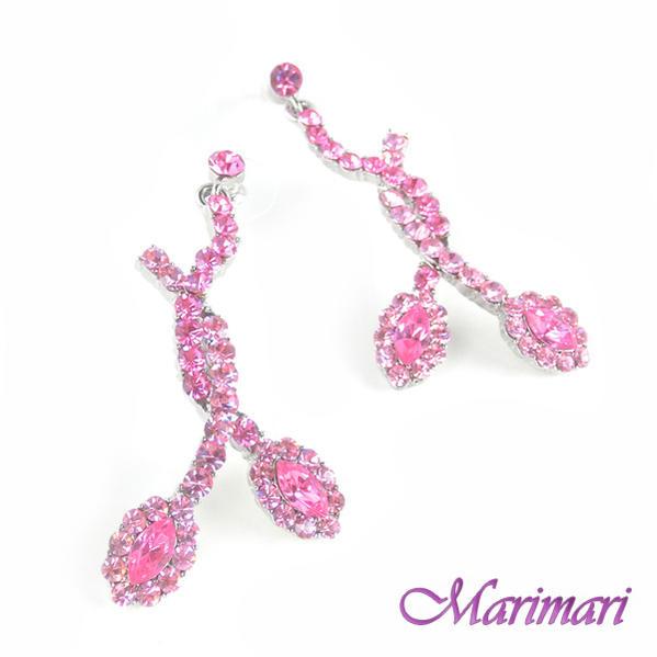◆アシンメトリー ピアススワロフスキーデザインシルバー色台濃いピンク〜淡いピンクグラデーションスワロ