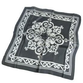 大判シルクスカーフロープアート アラベスク模様ブラック×ホワイト約80cm正方形