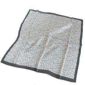 訳あり 大判シルクスカーフヒョウ柄×ブラックトリミングブラック×ホワイト×グレー約80cm正方形