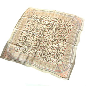 大判シルクスカーフ 地紋入りエスニック調 アニマル柄ココア色額に入れて飾れる約80cm正方形