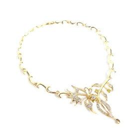 ネックレスアゲハ蝶×イエローフラワーアシンメトリーデザインゴールド色台◆