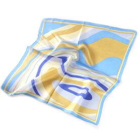 訳あり 正方形シルクスカーフ(マーブリングデザイン・水色)ネッカチーフサイズ約50cmサイケなデザイン