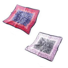 シルクスカーフ ゼブラ柄ネッカチーフサイズ約50cm正方形インパクトのある2色 メ