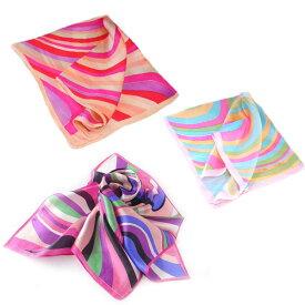訳あり シルク100%スカーフ曲線美 パステルカラーネッカチーフサイズ約50cm正方形電磁波デザイン